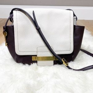 Fossil Leather Two-Tone Crossbody Bag/Purse